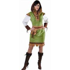 Costume robin des bois adulte femme luxe, Déguisement robin des bois femme, carnaval, fêtes.