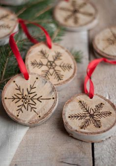 Etched Birch Ornament or Place cards. Could be personalized for everyone on your list. Attached as a gift tag. Even sent in Place of a traditional card
