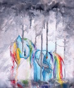 I love watercolor. And my little ponies