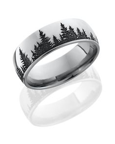 Nature ring with domed band and laser carved tree pattern. Made with the outdoorsman in mind. Made in the USA