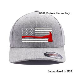 Yupoong Thin Red Line Axe USA Flag. Embroidered. 6477 Flexfit Wool Blend Cap  L XL Heather2 -- For more information 46af28c37bcd