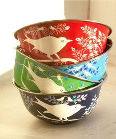 i heartcore love these birdy bowls! these food-safe, stainless steel lovelies are hand-painted by artisans in India's Kashmir region. purchase at: http://www.earthlovershopping.com/hand-painted-decorative-bird-motif-bowls-eva-and-lolita