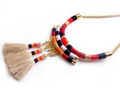 Sahara Necklace beige tassel necklace tribal by tashtashop on Etsy
