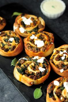 Well-seasoned ground beef spinach mushrooms and cheese rolled up into a pizza dough these savory sticky buns are served with a cream cheese frosting making them extra yummy! Beef Appetizers, Appetizer Dips, Appetizer Recipes, Bruschetta, Beef Recipes, Cooking Recipes, Family Recipes, Kitchen Recipes, Finger Food