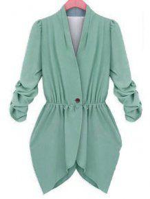 Fashion V Neck Single Button Green Fitted Blazer