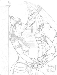 Anubis and Bastet sketch by dsgraphite