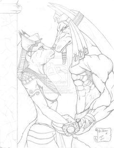 Anubis and Bastet sketch by dsgraphite