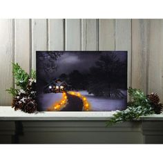 Dimensions: 12 X 18 X 1 inches Stretched canvas Flickering Lights AA Batteries On / Off switch