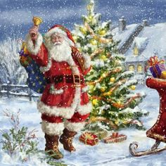 Beautiful Father Christmas and sleigh