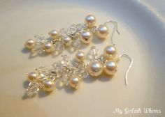 Pretty dangle pearl ear-rings. Tutorial.