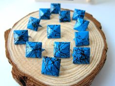 50pcs 12MM Blue with Black Color Splash Pyramid Studs by eSupply, $1.99