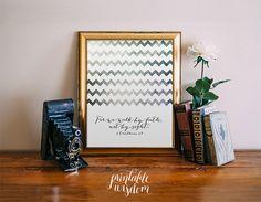 Bible Verse Art Printable, Print wall art decor poster, nursery inspirational quote INSTANT DOWNLOAD - walk by faith 2 Corinthians 5:7