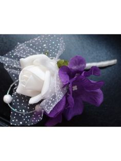 White Rose with Purple Hydrangea Boutonniere