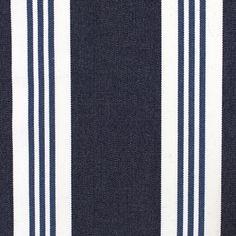 Regatta Stripe Outdoor Fabric A woven stripe fabric in navy, for indoor/outdoor use - Westbury Textiles