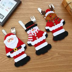 1PC Christmas Table Tableware bag covers Elk/snowman Xmas party dinning cutlery bag holder Fork spoon organizer decoration