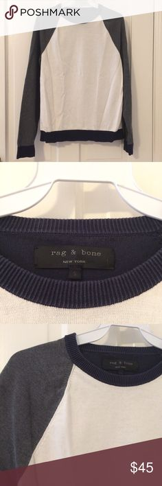 Rag & bone color block crew neck Rag & bone color block sweater that is super comfy and fashionable. Colors are white/cream, grey, and navy blue so it can be worn with anything. Perfect for fall and layering! No visible flaws. rag & bone Sweaters Crew & Scoop Necks