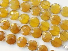 Yellow Chalcedony Round Faceted Bezel Connector by gemsforjewels