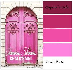 A bright pink can be made by mixing colors of Annie Sloan Chalk Paint: Emperor's Silk and Pure White. Color + White = Tint