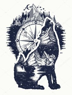 Wolf Tattoos 99730 Wolf and mountains double exposure tattoo art. Wolf howls tattoo, mountain compass and night sky t-shirt design Wolf Tattoo Back, Small Wolf Tattoo, Wolf Tattoo Sleeve, Lion Tattoo, Sleeve Tattoos, Tattoo Wolf, Wolf And Moon Tattoo, Wolf Sleeve, Wolf Tattoo Meaning