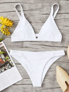Shop Triangle Top With Cut Out Bikini Set online. SHEIN offers Triangle Top With Cut Out Bikini Set & more to fit your fashionable needs. Bikini Swimwear, Sexy Bikini, Thong Bikini, Swimsuits, Romwe Swimwear, Cut Out Bikini, Bikini Set, Triangle Top, Triangle Bikini