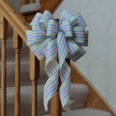10-034-WIDE-BEAUTIFUL-PASTEL-PLAID-BOW-BABY-SHOWER-DECORATION-GIFT-CRAFTS-WREATHS