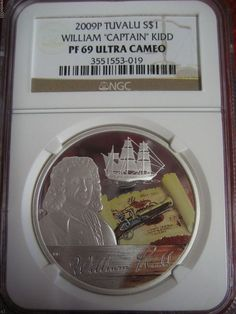 2009 TUVALU William Captain Kid NGC PF69 Golden Age of Piracy RARE PIRATE COIN: