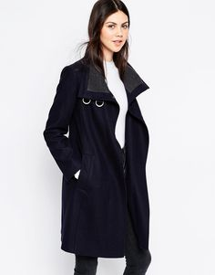 ASOS Coat with Funnel Neck and Rib Detail