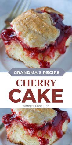 Mini Desserts, Cherry Desserts, Cherry Recipes, Homemade Desserts, Easy Desserts, Delicious Desserts, Cake Recipes From Scratch, Easy Cake Recipes, Sweet Recipes
