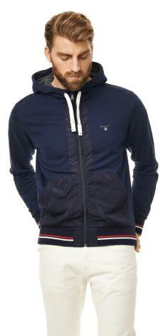 N.Y. Nylon Pocket Full Zip Hoodie- great fabric mixing Full Zip Hoodie bb9752b723e