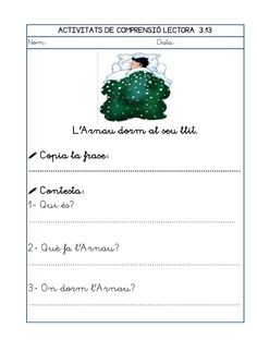 Dori dos 1112_mt005_r1_comprensio_lectora_3 Catalan Language, Teaching, Writing, School, Reading Comprehension, Inference, Reading Workshop, Vocabulary