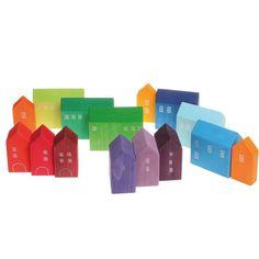 Grimms Holz Häuser handbemalt - Kinder können diese schönen Holzhäuschen in ihre phantasievollen Spiele wunderbar mit einbeziehen und sie natürlich ebenso gut als Bauklötze verwenden. Vielseitig und lange bespielbar!