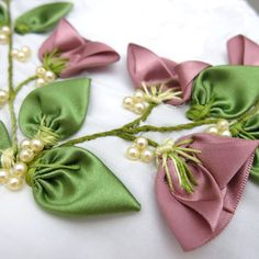 Wonderful Ribbon Embroidery Flowers by Hand Ideas. Enchanting Ribbon Embroidery Flowers by Hand Ideas. Butterfly Embroidery, Silk Ribbon Embroidery, Embroidery Patterns, Rose Embroidery, Ribbon Art, Ribbon Crafts, Quilling Patterns, Leather Flowers, Handmade Flowers
