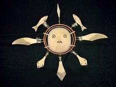 Owl Spirit Mask (Agayu)  Wood, sinew, feather shafts, paint  Mekoryuk pre-1968  Maker: Umyan (Harry Shavings)  UAF Museum accession # UA68-022-0002AH