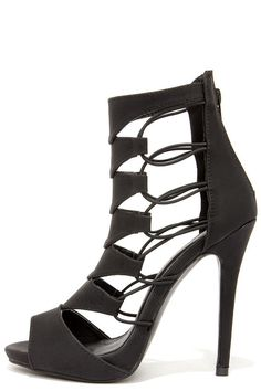 Black Shoe Republic LA Empress Black Nubuck Caged Heels @ LuLu's $45