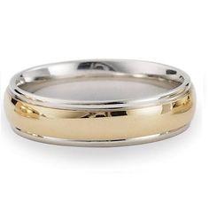 Designer 6 mm Two-toned Polished Finish 14K Yellow & White Gold Wedding Band - JB1148