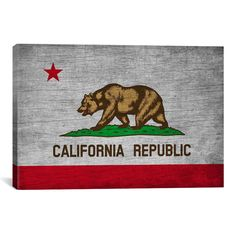 iCanvas California Flag, Grunge Vintage Advertisement on Canvas