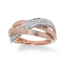 Diamond Braided Ring, 14K Rose Gold
