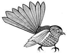 Gorgeous Fantail Colouring Pages, Printable Coloring Pages, Clare Stone, Ukelele Painted, Drawing Templates, Kiwiana, Clever Design, Art Object, Color Tattoo