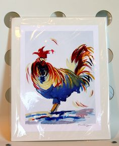 Rooster art print this poor rooster looks so harried...perfect for the way my kitchen runs! Love it!