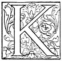 Fairly rare, vintage fancy letter K drawing. Black and white drawing dating back to 1889 and could easily be colorized by hand or with a graphics editor.