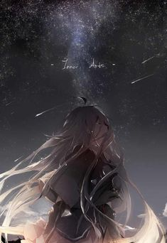 absurdres ahoge backlighting braid choker crying english eyes_closed from_side highres ia_(vocaloid) long_hair night night_sky pink_hair shooting_star skirt sky solo star star_(sky) tears text very_long_hair vocaloid wind yarily Sad Anime Girl, Anime Art Girl, Manga Art, Manga Anime, Anime Style, Persona Anime, Violet Evergarden Anime, Graphisches Design, Anime Angel