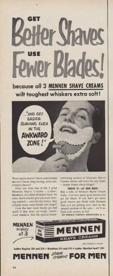 """Description: 1954 MENNEN vintage print advertisement """"Get Better Shaves"""" -- Get Better Shaves Use Fewer Blades! because all 3 Mennen Shave Creams wilt toughest whiskers extra soft! Mennen shave creams For Men -- Size: The dimensions of the half-page advertisement are approximately 5.5 inches x 14 inches (14 cm x 36 cm). Condition: This original vintage half-page advertisement is in Very Good Condition unless otherwise noted."""