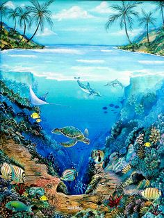 Sea Life Art, Sea Art, Underwater Painting, Underwater World, Pintura Coral, Tatoo Manga, Sea Murals, Coral Painting, Sea Drawing