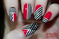 crossed lines nail art love
