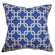 Cotton pillow with a feather-down fill and linked squares motif. Made in Boston, Massachusetts.   Product: PillowConstru...