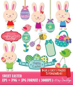 Sweet Easter Clip Art by ElsyDesign on Etsy, $5.00