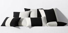 Black And White Cabana Stripe Outdoor Pillows - Modern Patio & Outdoor