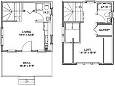 Cabin House Plans, Tiny House Cabin, Small House Plans, Cabin Homes, House Floor Plans, Tiny Houses, Lake Homes, Farm House, Shed Building Plans