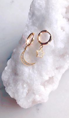 Star Jewelry, Cute Jewelry, Gold Jewelry, Jewelery, Sparkly Jewelry, Women Jewelry, Small Gold Hoop Earrings, Cute Earrings, Diy Crystal Earrings