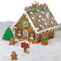 Gingerbread house: dust the roof with powdered sugar or flour instead of covering the roof with icing.
